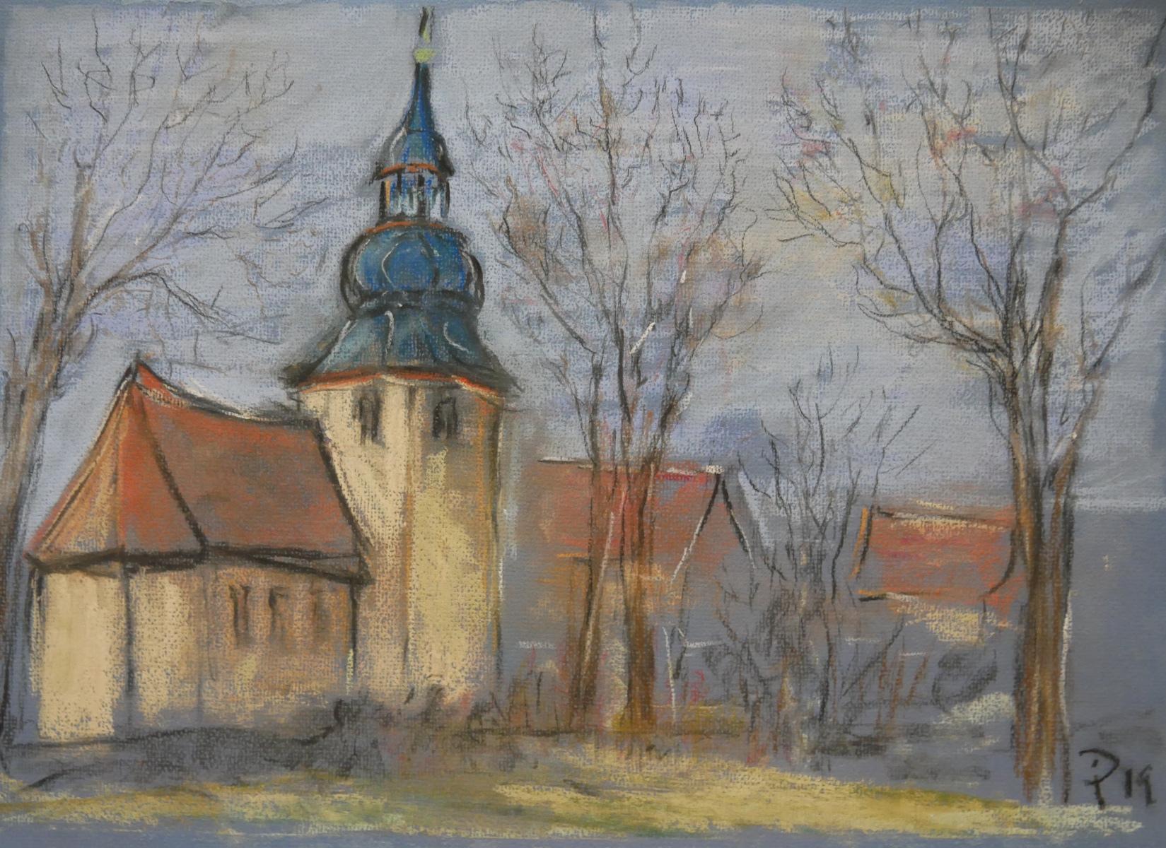 Tiefurt: Kirche, Pastellmalerei Ingrid Prager